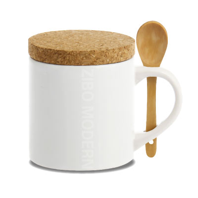 Elegant Design Fashion Coffee Mug with Natural Cork Lid & Bamboo Spoon - GC2026