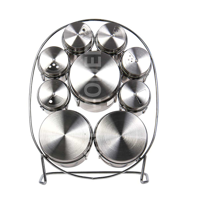 Stainless Steel + Glass Spice Rack Holder with 6 Shaker and 3 Canister
