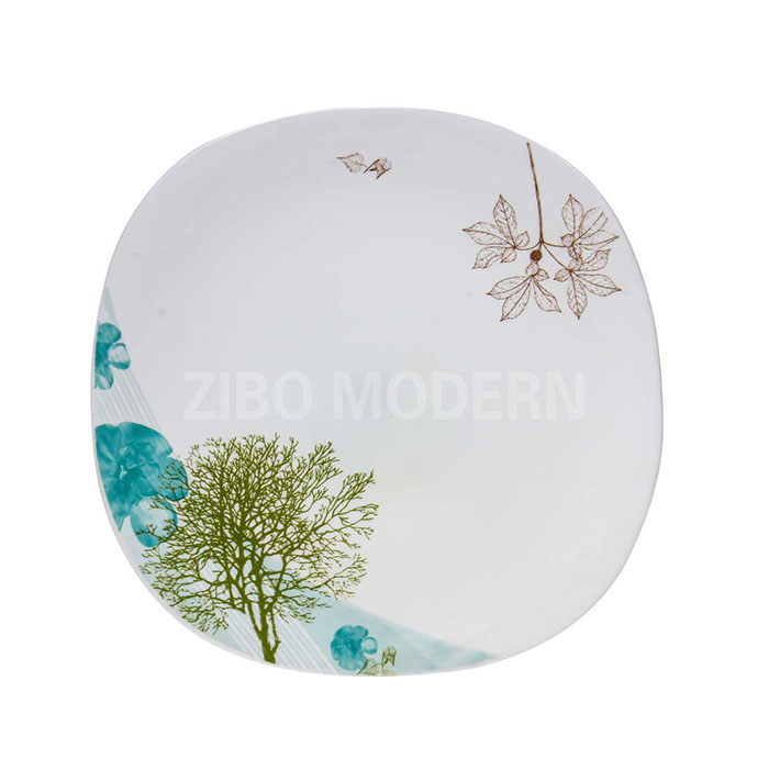 White Glass Rounded Rectangle Plates