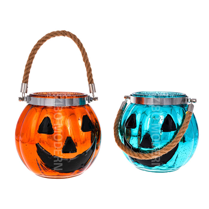 Colorful Mercury Glass Votive Halloween Pumpkin Candle Holders With Rope Handle