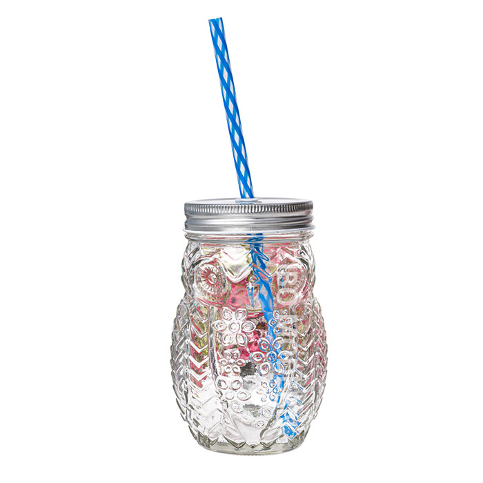 16 Oz Owl shaped Mason Jar mugs With Plastic Straw and Tin Lid - Cold Beverage Drinking Glasses
