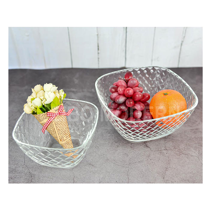 8 / 6 Inch Clear Glass Serving Bowl Set Of 2 - Glass Salad Bowl - Salad Mix Bowl - Glass Dinnerware