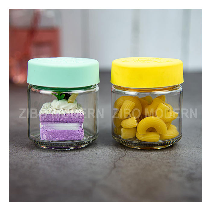 4 Oz Glass Baby Food Canister With Press-able Air-tight Silica Gel Cap