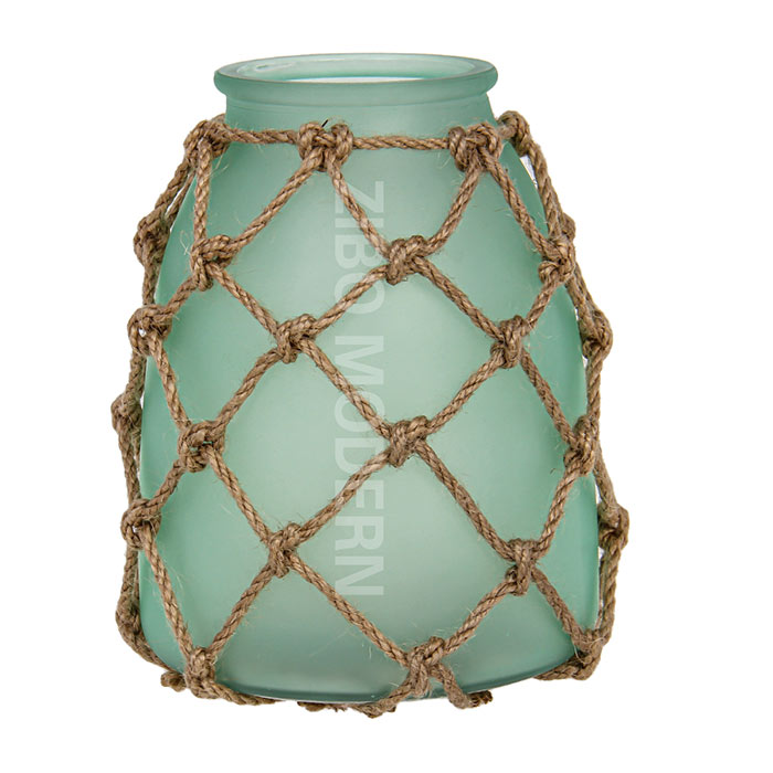 American Country Style Frosted Glass Candle Holder With Hemp Rope - Decorative Candle Lanterns - Win
