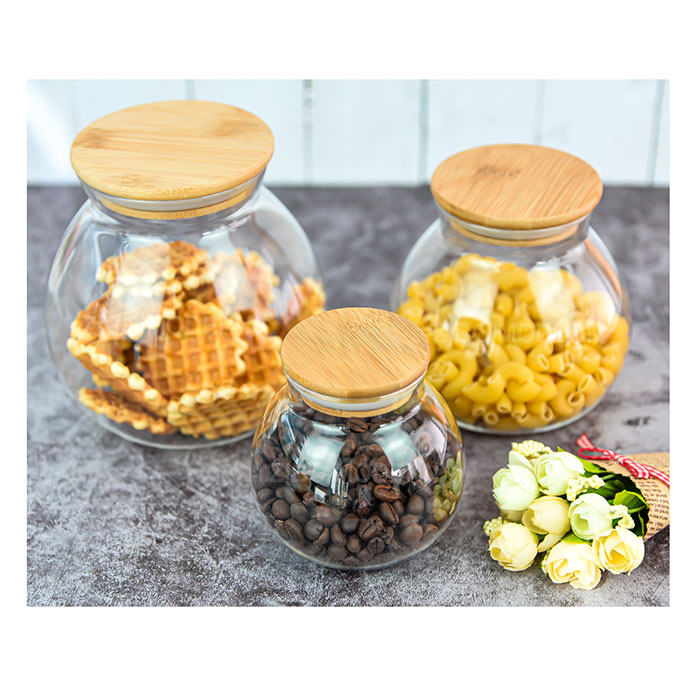 Stackable Kitchen Canisters Set, Airtight Food Storage Canisters Set of 3 - Glass Storage Jar With B
