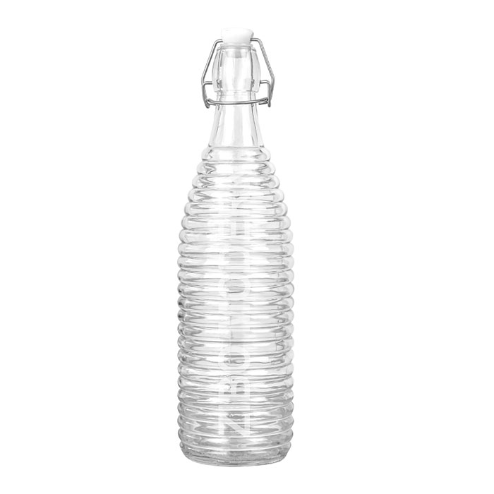32Oz / 1L Glass Ribbed Swing Top Brewing Bottle With Stopper - For Beverages/Oil/ Vinegar/Kombucha/