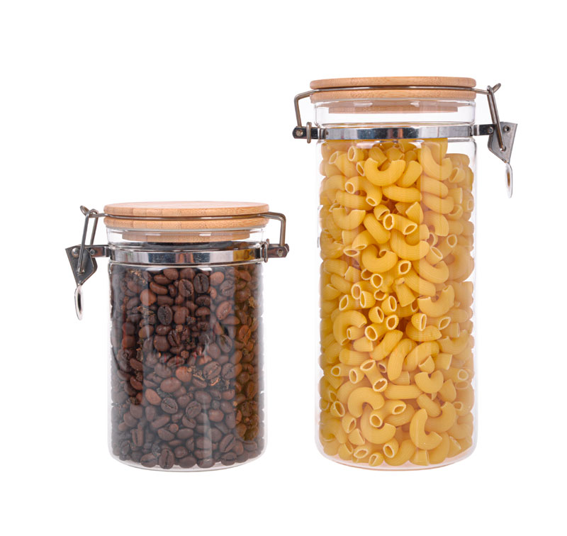 High Boron Glass Food Storage Canister With Stainless Steel Locking Clamp And Air-Tight Bamboo Lid