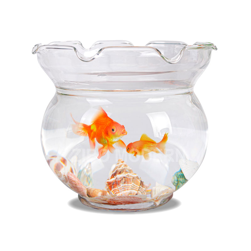 6 / 7 / 9 / 11 Inch Hand Blown Clear Glass Waved Rim Fish Tank - Round Glass Fish Tank