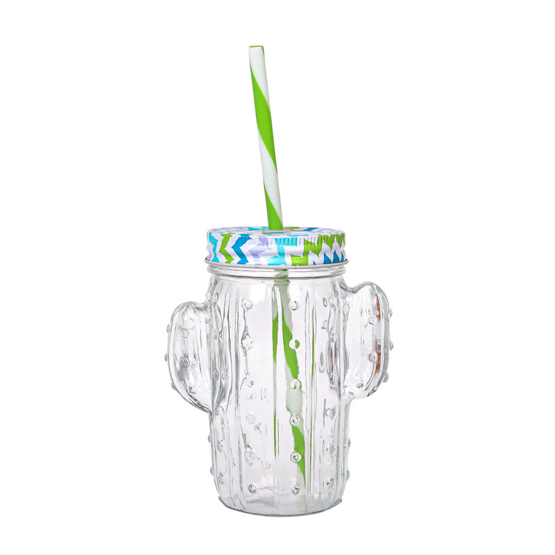 14 Ounce Clear Glass Cactus Mason Jar Mugs With Reuse-able Straw And Metal Lid - Cold Beverage Drinking Glasses