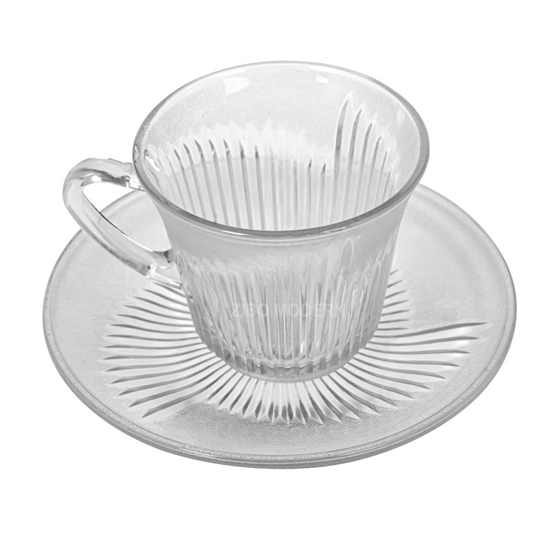 7 OZ Frosted Glass Coffee / Tea Cup With Saucer Glass Coffee Cup / Tea Cup - Water Glasses
