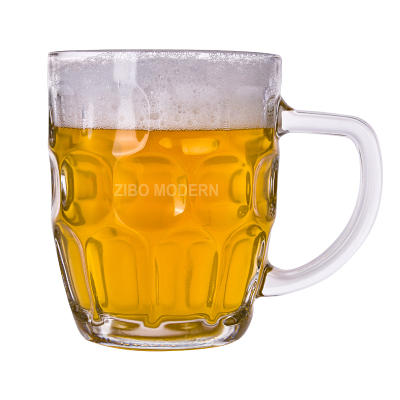 16 Oz High Quality Glass Dimpled Stein Beer Mug Jumbo Solid Glass Beer Mug - Large Glass Beer Mugs