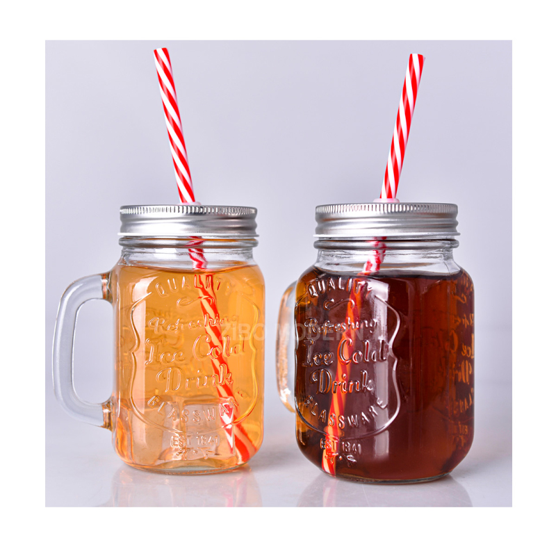16 Oz Glass Classic Mason Jar Mugs With Lid And Straw - Cold Beverage Drinking Glasses - Kitchen Storage Jars